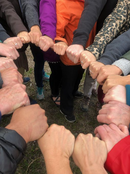circle of people's hands